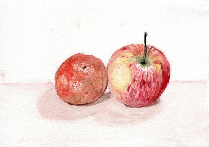 watercolor original pomme,mandarine - voicivoilà