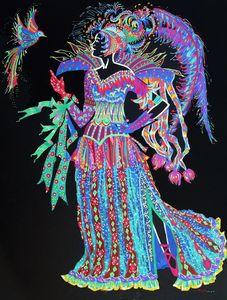 Dessin, couleurs, femme baroque