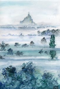 watercolor, aquarelle, landscape