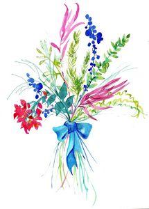 aquarelle,feuillages,fleurs