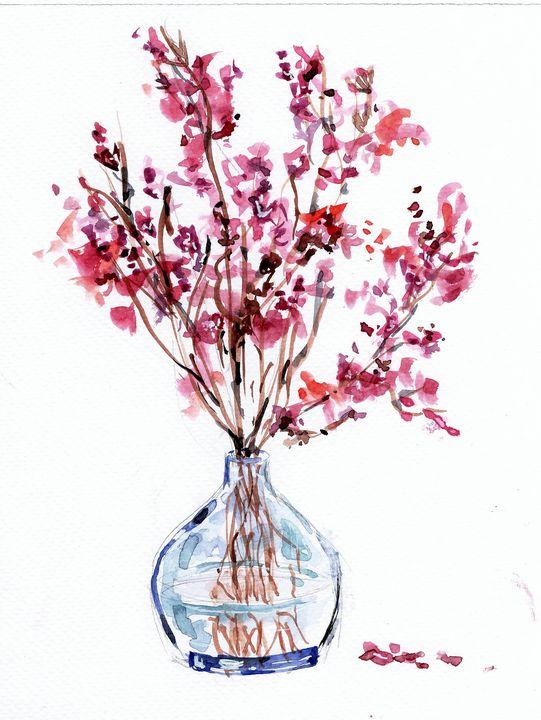 watercolor aquarelle, branches - voicivoilà