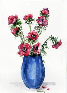watercolor, fleurs rouges, vase bleu