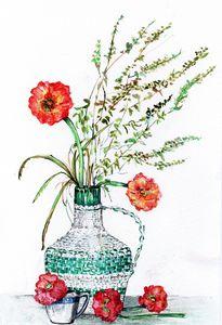 watercolor,aquarelle,fleur,feuillage