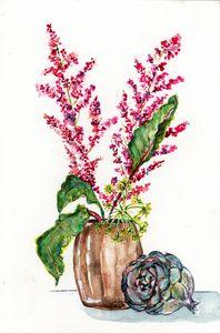 Watercolor,aquarelle,graminée rouge