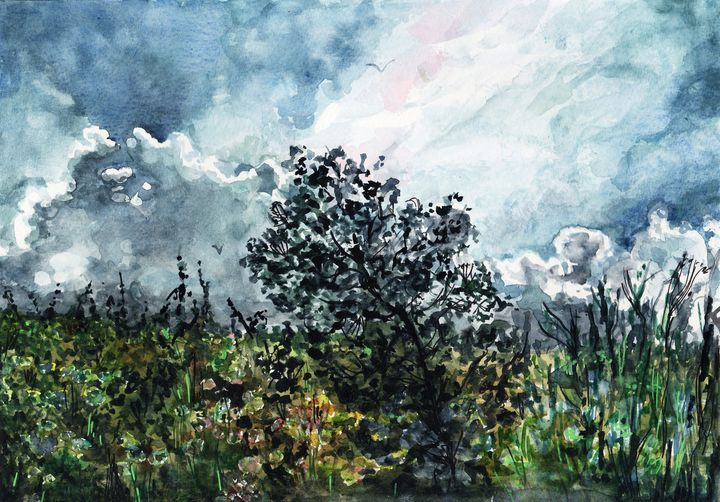 watercolor, aquarelle, fin d'orage - voicivoilà