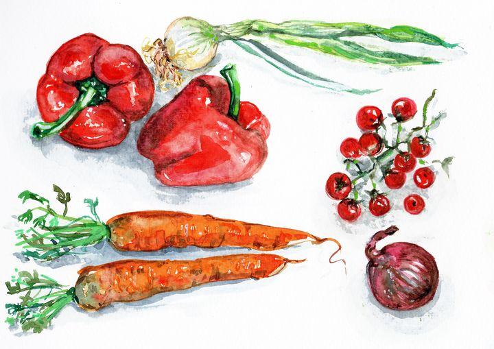 watercolor, légumes sur table - voicivoilà