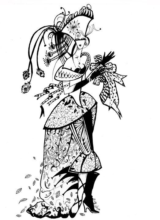 drawing,dessin, femme,encre de Chine - voicivoilà