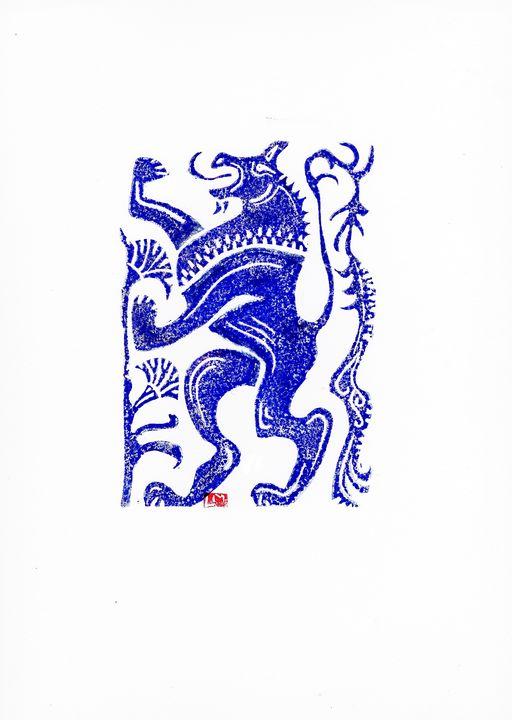Etching,Linocut,,heraldic lion - voicivoilà