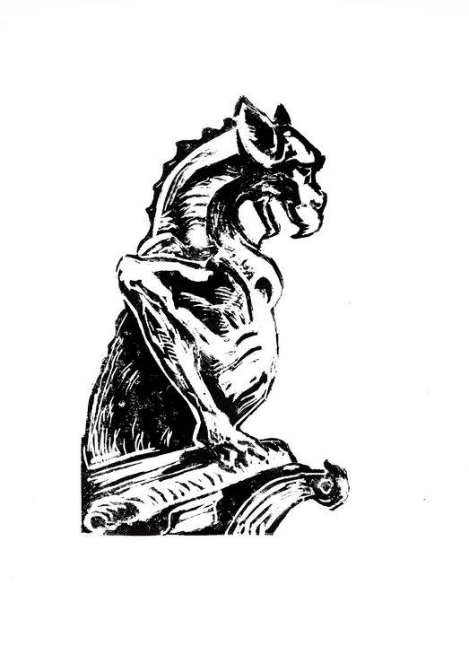 etching,linocut,ND de Paris - voicivoilà