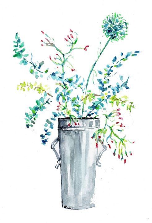 Watercolor aquarelle, feuillages - voicivoilà