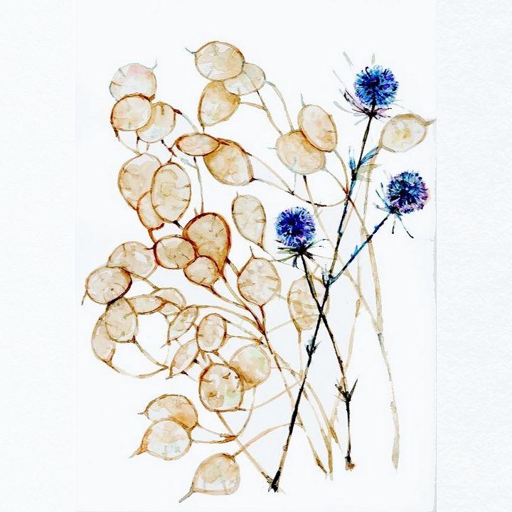 watercolor/Aquarelle,fleur,chardon - voicivoilà