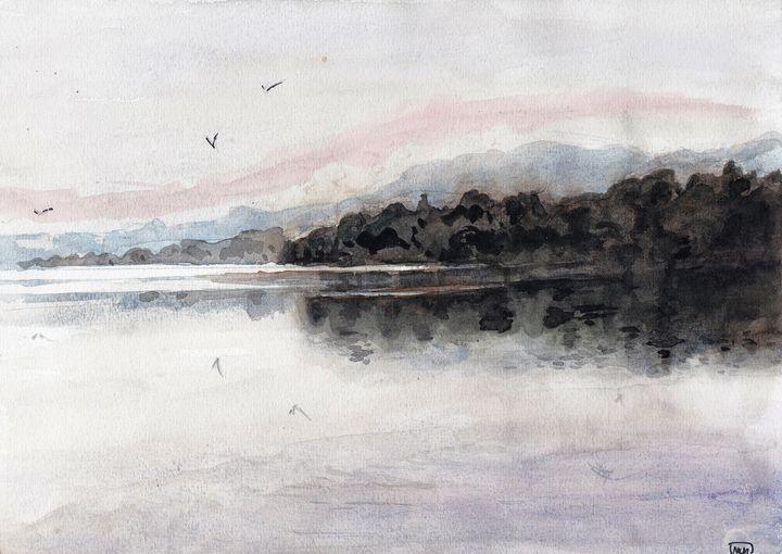watercolor, aquarelle, landscape, - voicivoilà