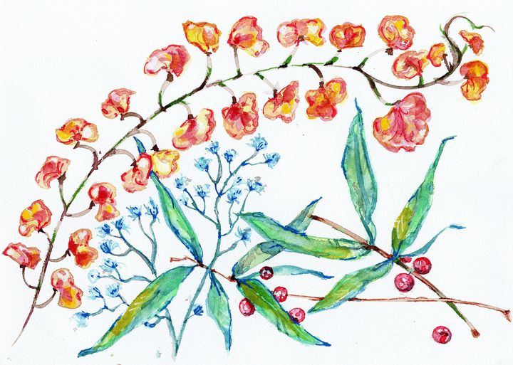 watercolor, Aquarelle, fleur, baies - voicivoilà