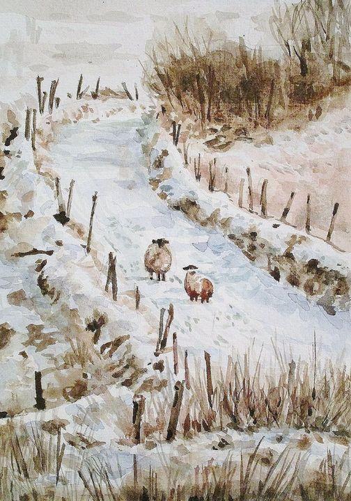 watercolor,aquarelle,lanscape,snow - voicivoilà
