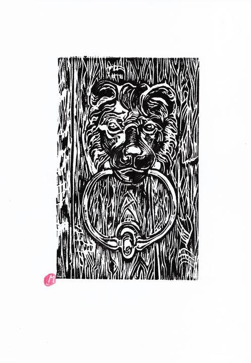 linocut, etching, French city - voicivoilà