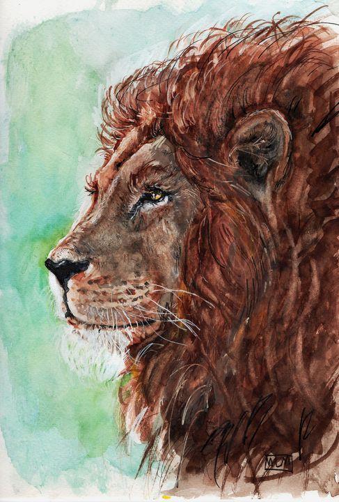 watercolor, lion, Aquarelle, lion - voicivoilà