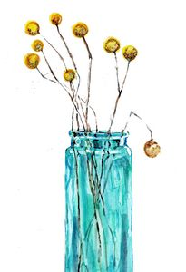 Watercolor/ aquarelle, vase bleu
