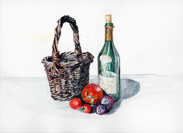 watercolor aquarelle wine bottle - voicivoilà