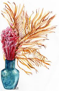 Watercolor, aquarelle, fleurs sèches