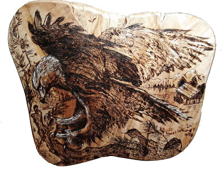 pyrography, woodburning, eagle - voicivoilà