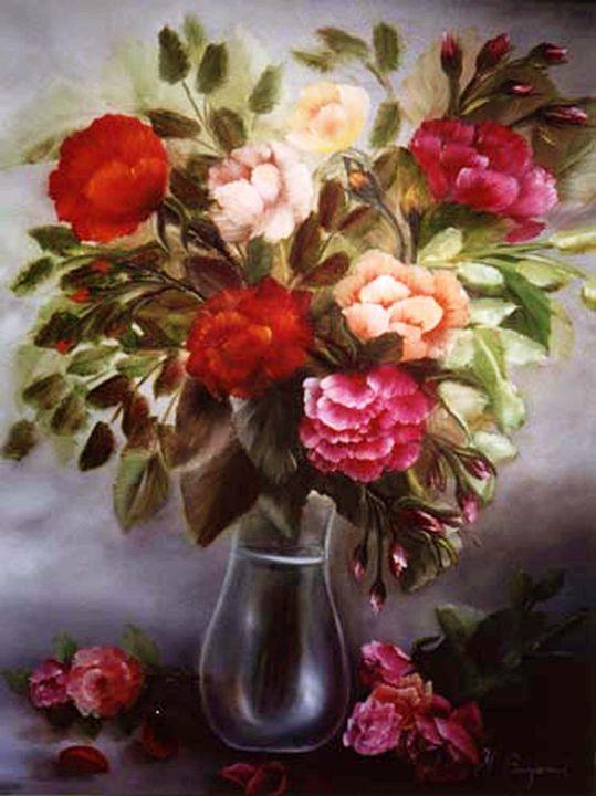 Roses in glass vase - Yolanda Barjoud Originals