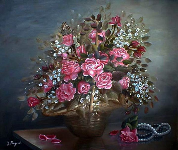 Basket of Roses - Yolanda Barjoud Originals