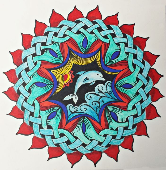 Colorful Mandala Celtic Knot Dolphin - LozsArt