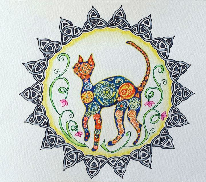 Hippy Cat Mandala - LozsArt