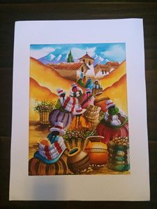 Peruvian Water Color Art Decor Peru