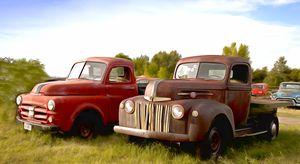 Trucks along the road in Montana - FASGallery/ArtPal