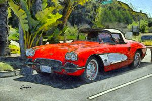Vintage Corvette Pismo Beach Calif. - FASGallery/ArtPal