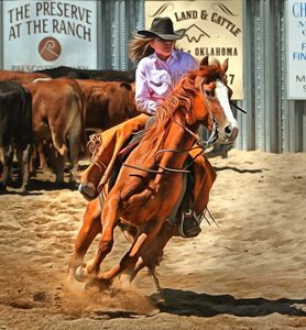 Barrel Racing Cowgirl - FASGallery/ArtPal