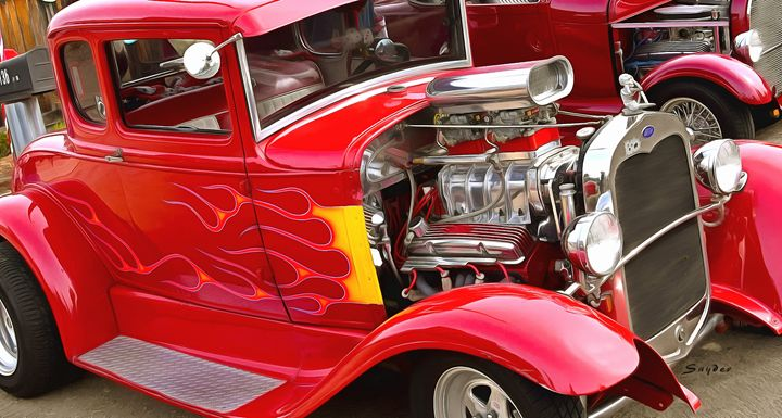Flaming Red Hot Hot Rod - FASGallery/ArtPal