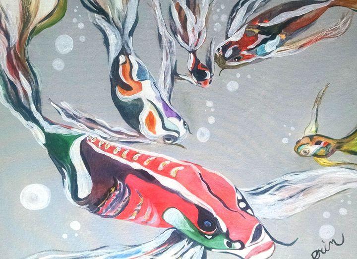 Swimming Koi - eel art / Erin Lanier