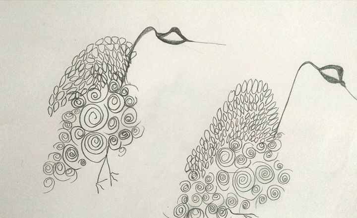 loopy birds - eel art / Erin Lanier