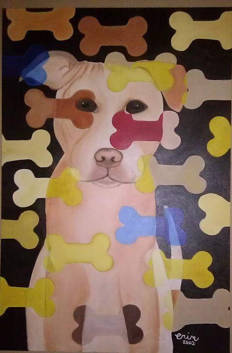 Pit bull puppy - eel art / Erin Lanier