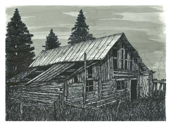 Rustic Old Barn Ink Drawing