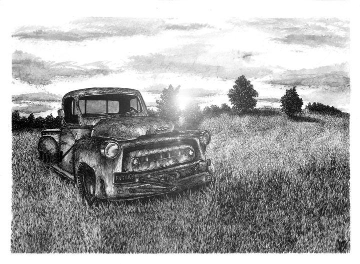 Abandoned Truck at Sunset - Jonathan Baldock