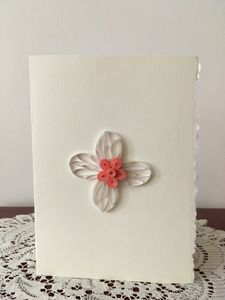 Coral Pink Easter Cross Blank Card