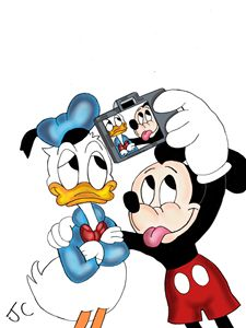 "Mickey and Donald, ""selfie."""