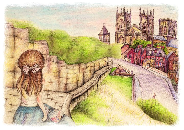Views from York City Wall - Watercolor Pencil Illustrations