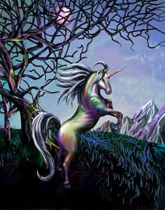 Colorful Unicorn in the Night