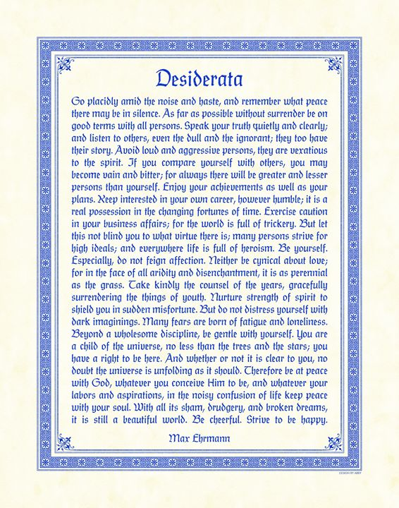 Desiderata - Digital Crafts