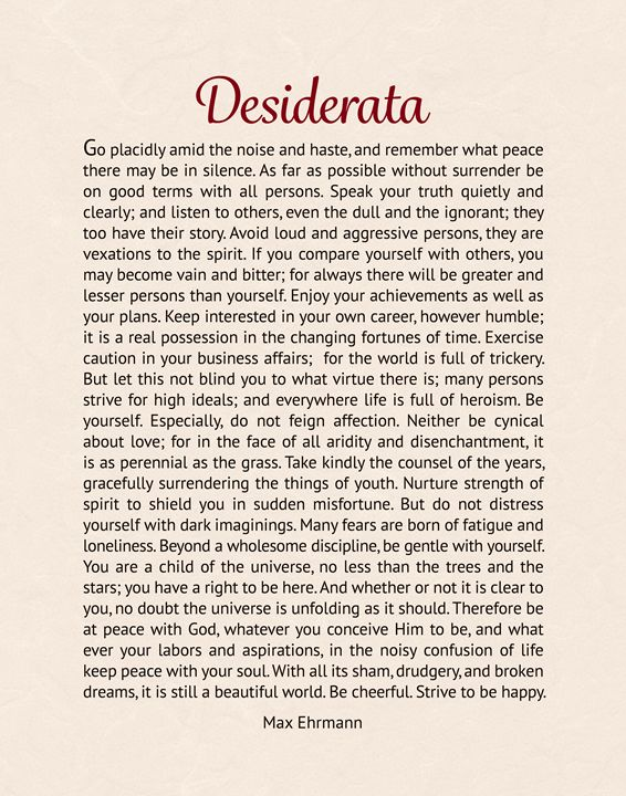 The Desiderata - Digital Crafts