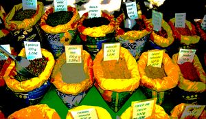Spices on a market stall in France