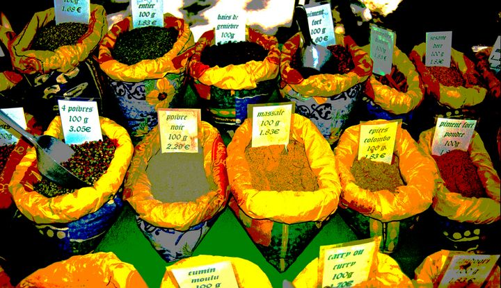 Spices on a market stall in France - Nicholas Rous