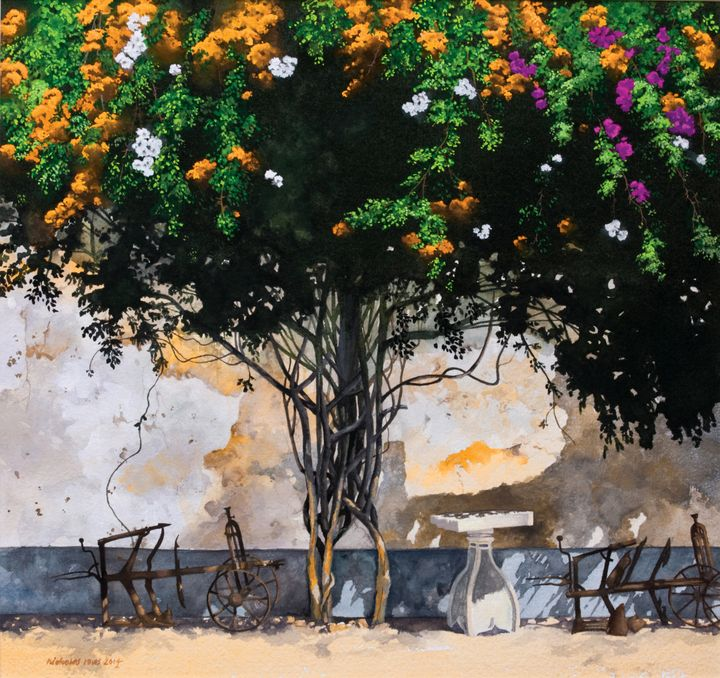 Old ploughs and bougainvillea - Nicholas Rous