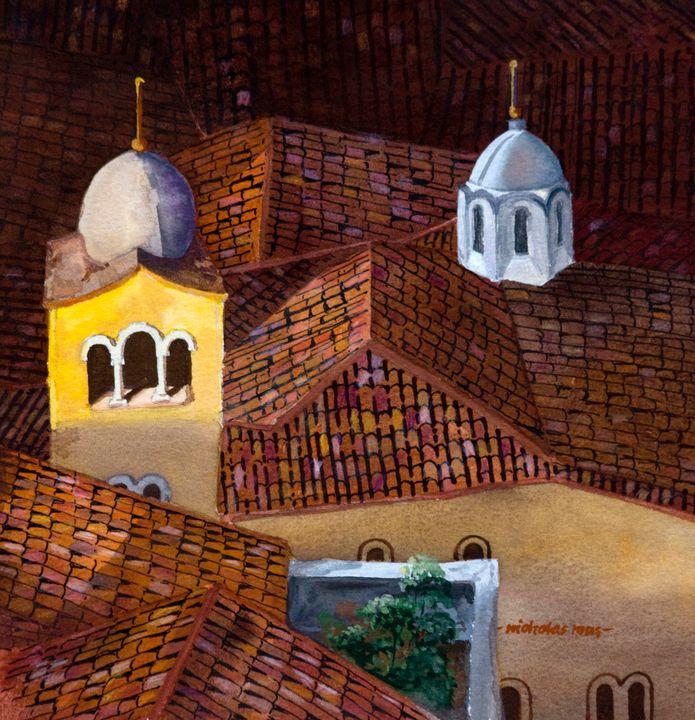 Evening rooftops, Athens - Nicholas Rous