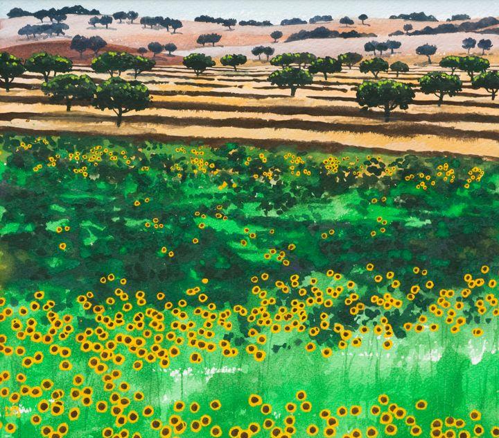 Cork oaks and sunflowers - Nicholas Rous