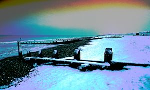 Worthing beach after a fall of snow